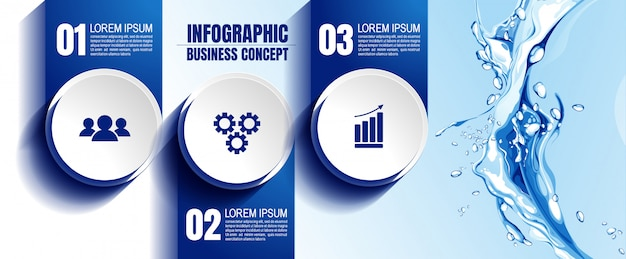 Modèle d'infographie avec 3 étapes