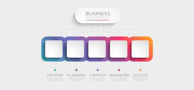 Modèle d'infographie 3d abstrait dégradé avec options de brochure