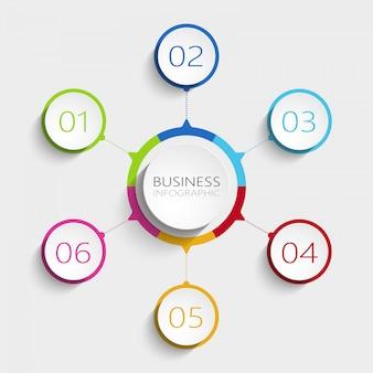 Modèle d'infographie 3d abstrait moderne avec 6 étapes.