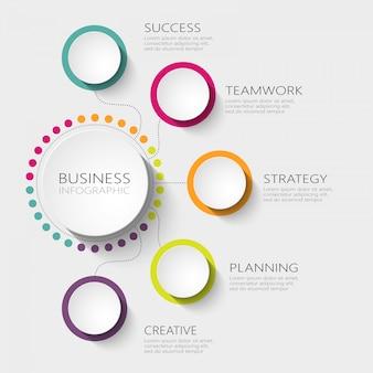 Modèle d'infographie 3d abstrait moderne avec cinq étapes pour le succès