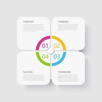 Modèle d'infographie 3d moderne avec 4 étapes pour réussir