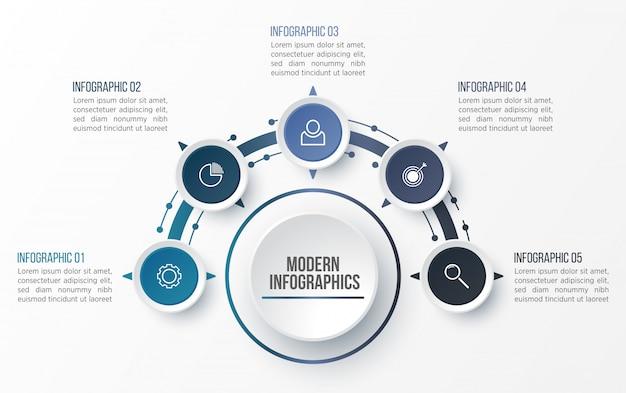 Modèle d'infographie 3d pour la présentation. visualisation des données d'entreprise. éléments abstraits. concept créatif pour infographie.