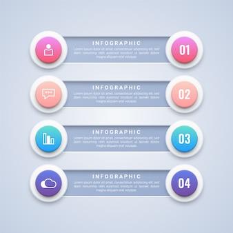 Modèle d'infographie 4 étapes de cercle