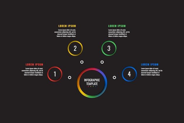 Modèle d'infographie 4 étapes avec des éléments découpés en papier rond sur fond noir. diagramme de processus métier. modèle de diapositive de présentation d'entreprise. conception de mise en page graphique d'informations modernes.