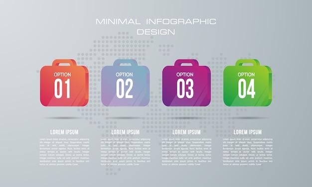 Modèle d'infographie avec 4 options, flux de travail, diagramme de processus, conception d'infographie timeline