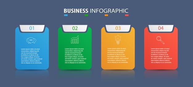 Modèle d'infographie avec 4 options pour les entreprises