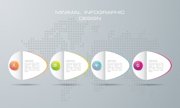 Modèle d'infographie avec 4 options