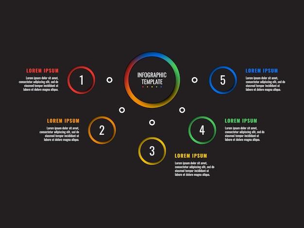 Modèle d'infographie 5 étapes avec du papier rond, éléments coupés sur fond noir