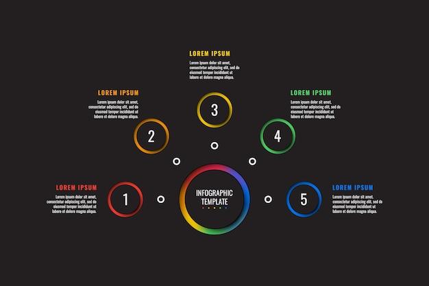 Modèle d'infographie en 5 étapes avec des éléments découpés en papier rond sur fond noir processus d'affaires