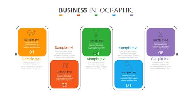 Modèle d'infographie avec 5 options ou étapes pour les entreprises