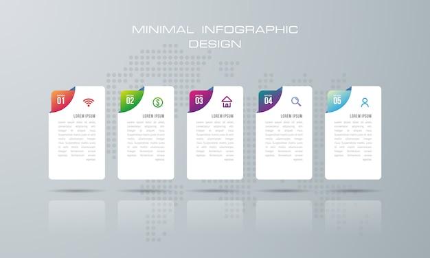 Modèle d'infographie avec 5 options, flux de travail, diagramme de processus, vecteur de conception infographie timeline