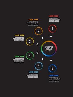 Modèle d'infographie en 6 étapes avec des éléments coupés de papier rond