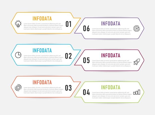 Modèle d'infographie avec 6 étapes premium