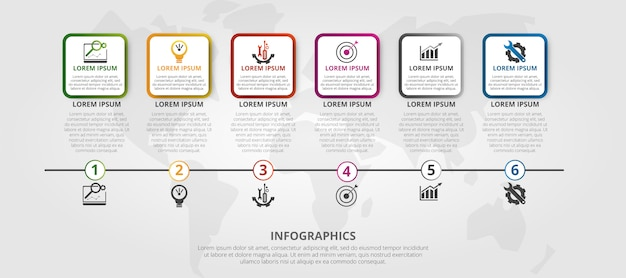Modèle d'infographie en 6 étapes