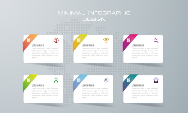 Modèle d'infographie avec 6 options, flux de travail, diagramme de processus, vecteur de conception infographie timeline
