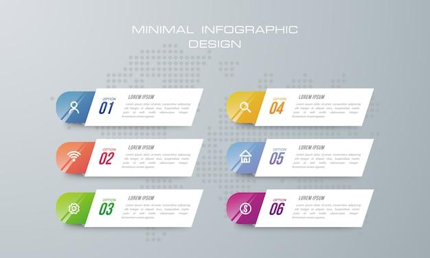 Modèle d'infographie avec 6 options, flux de travail, diagramme de processus