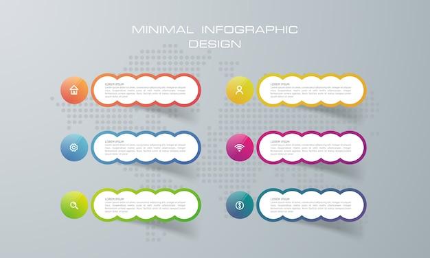 Modèle d'infographie avec 6 options