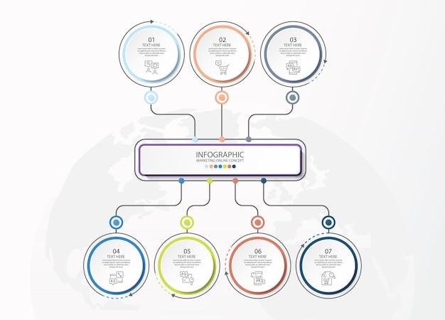 Modèle d'infographie avec 7 étapes, processus ou options, organigramme de processus, utilisé pour le diagramme de processus, les présentations, la mise en page du flux de travail, l'organigramme, l'infographie. illustration vectorielle eps10.