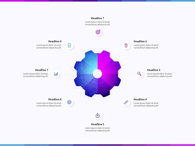 Modèle d'infographie 8 étapes options services