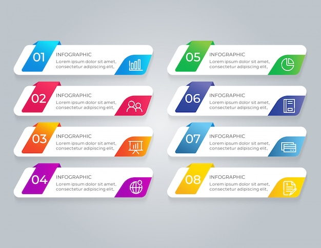 Modèle d'infographie avec 8 étapes d'options