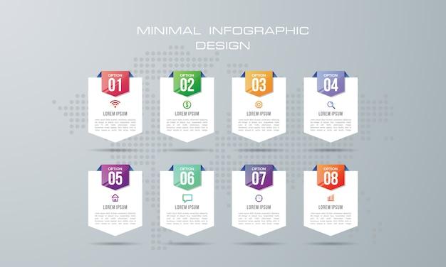 Modèle d'infographie avec 8 options, flux de travail, diagramme de processus,