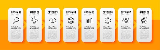 Modèle d'infographie à 8 options sur fond jaune, flux de travail d'entreprise avec concept d'étapes multiples