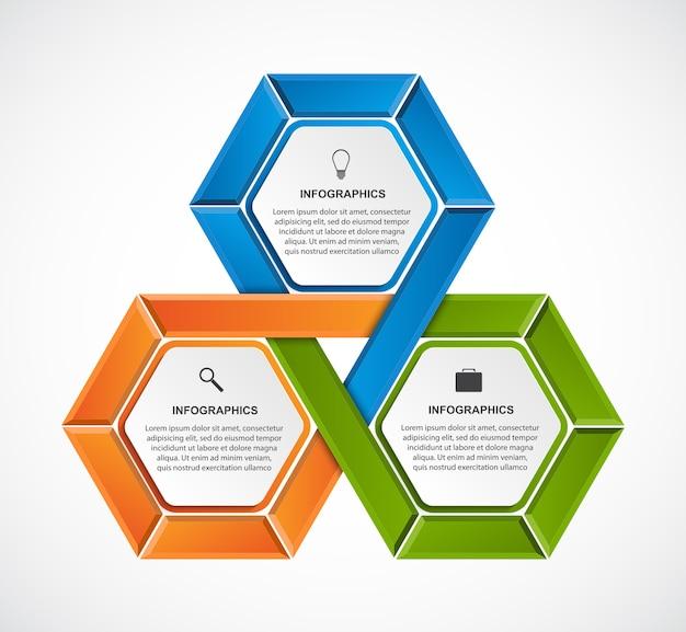 Modèle d'infographie abstrait hexagone.