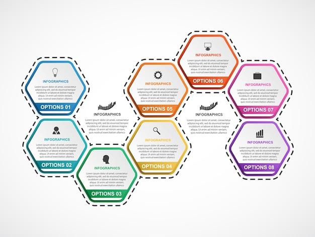 Modèle d'infographie abstrait hexagone