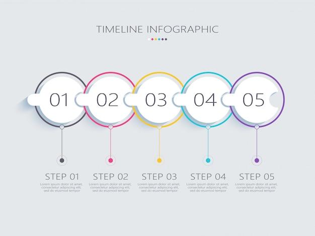 Modèle d'infographie abstrait moderne d avec étapes pour réussir
