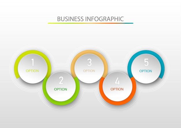 Modèle d'infographie abstraite avec cinq étapes. modèle d'infographie.