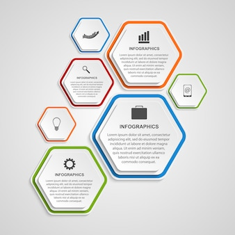 Modèle d'infographie abstraite hexagone.
