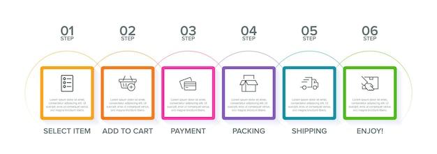 Modèle d'infographie d'achat six options ou étapes avec icônes et texte