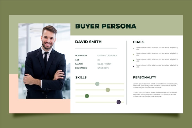 Modèle d'infographie de l'acheteur avec photo