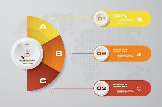 Modèle d'infographie affaires 3 options présentation.