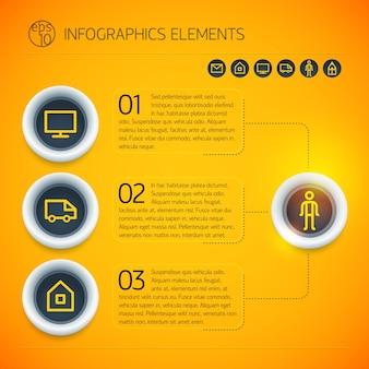 Modèle d'infographie d'affaires lumineux avec icônes de texte de cercles trois options