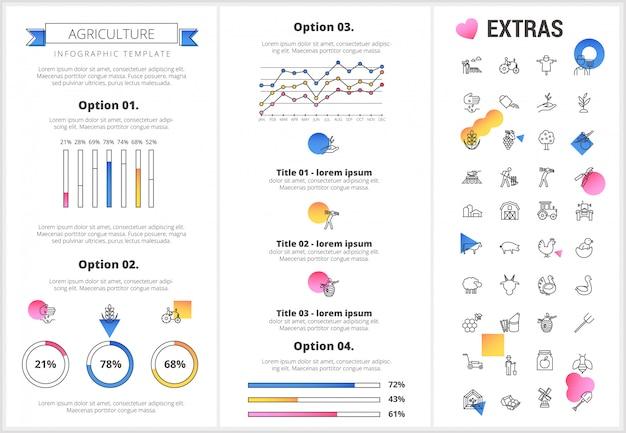 Modèle d'infographie de l'agriculture, des éléments, des icônes.