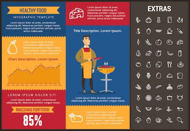 Modèle d'infographie des aliments sains, des éléments, des icônes