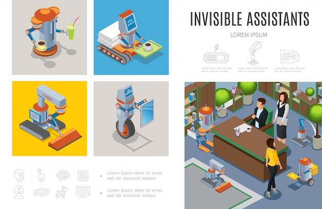 Modèle d'infographie d'assistants robotiques isométriques avec des machines intelligentes de ménagère de courrier de nettoyage de barre de robots aidant les personnes dans les services d'affaires et d'hôtel