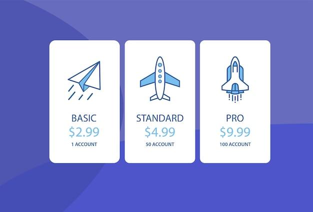 Modèle d'infographie de bannières de plan de tarification