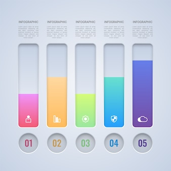 Modèle d'infographie barre colorée 4 étapes