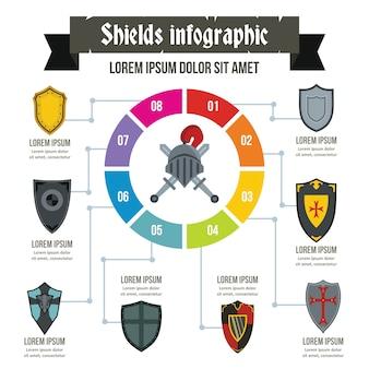 Modèle d'infographie de boucliers, style plat