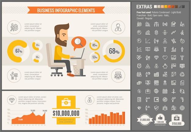 Modèle d'infographie business design plat