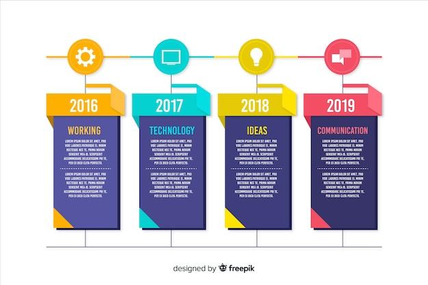 Modèle d'infographie de calendrier créatif coloré