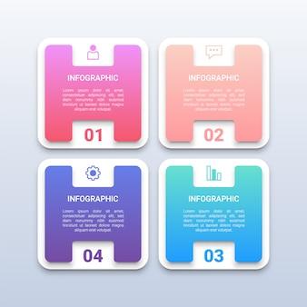 Modèle d'infographie carré 3d