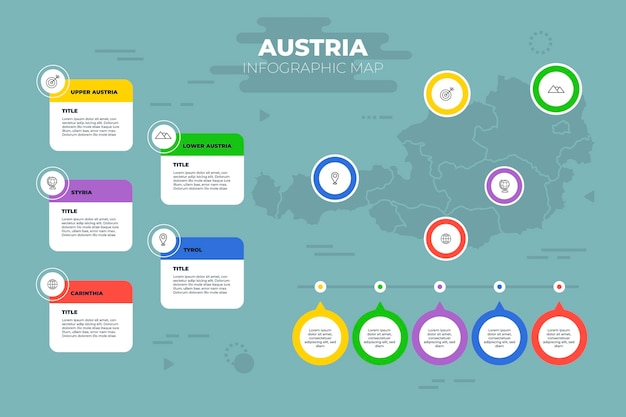 Modèle d'infographie de carte d'autriche plate