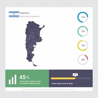 Modèle d'infographie de carte et drapeau de l'argentine