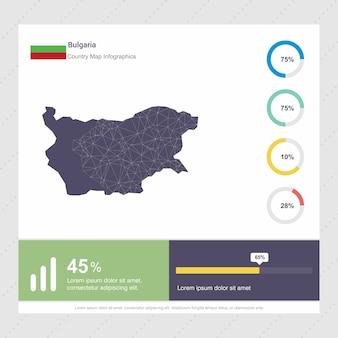 Modèle d'infographie de carte et de drapeau de la bulgarie