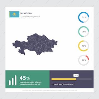 Modèle d'infographie de carte et drapeau du kazakhstan