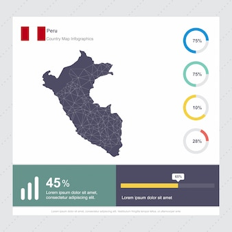 Modèle d'infographie de carte et drapeau du pérou