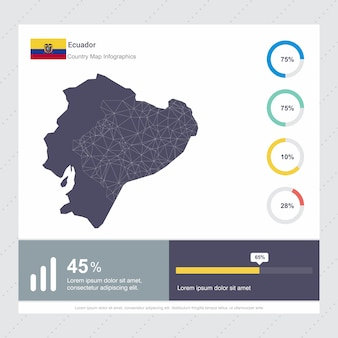 Modèle d'infographie de carte et drapeau de l'equateur